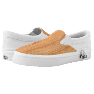 Cool light brown bamboo wood print slip on shoes
