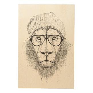 Cool lion (blackandwhite) wood wall decor