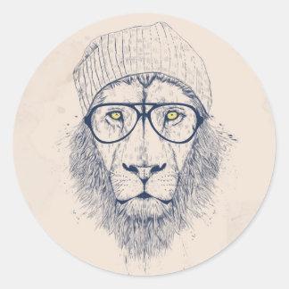 Cool lion classic round sticker