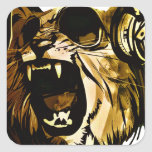 Cool Lion head with glasses and headphones Square Sticker