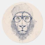 Cool lion round stickers