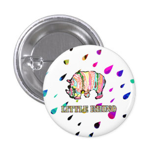 Cool Little Rhino in Colorful Rain 3 Cm Round Badge