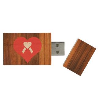 Cool Love Caring Wood USB 2.0 Flash Drive