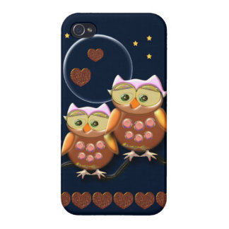 Cool Love Owls under a full Moon Cover For iPhone 4