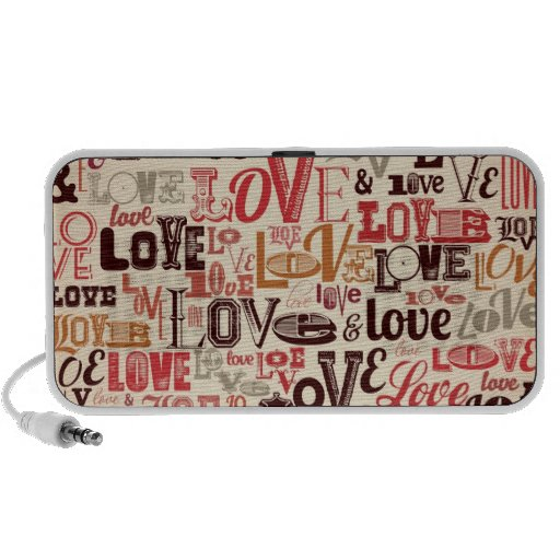 Cool Love Text Design Mp3 Speakers