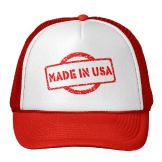 Cool made in usa stamp red effects hats
