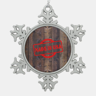 Cool made in usa wood background effects pewter snowflake decoration