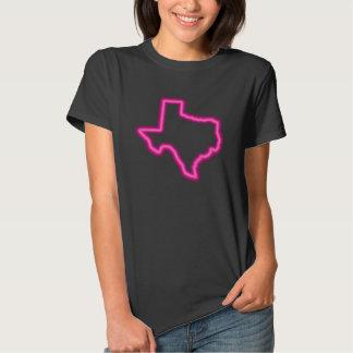 Cool Magenta Neon Map of Texas Tee Shirt