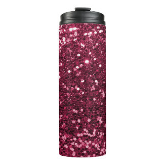 Cool Magenta Pink Faux Glitter Sparkle Thermal Tumbler