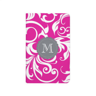 Cool Magenta Pink Gray Floral Swirl Monogram Journal