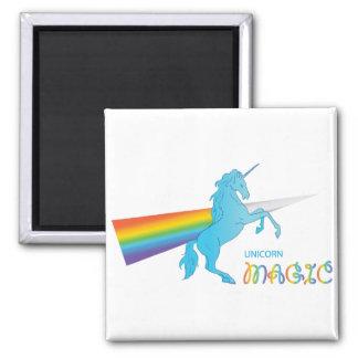 Cool magic Unicorn with bright rainbow. Fantasy. Square Magnet