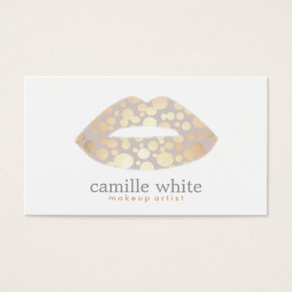 Cool Makeup Artist Gold Lips Logo Beauty Salon Business Card