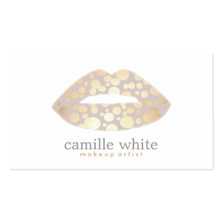 Cool Makeup Artist Gold Lips Logo Beauty Salon Pack Of Standard Business Cards