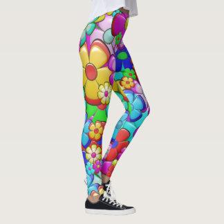 Cool Manga-style Floral Pattern Leggings