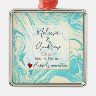 Cool Marble Design in Turquoise and Cream Wedding Christmas Ornament