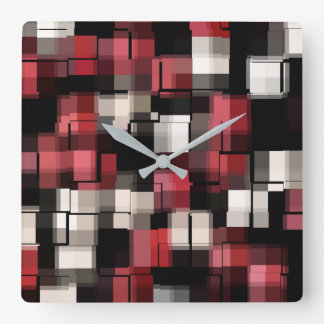 COOL Maroon Black White Abstract Pattern Square Wall Clock
