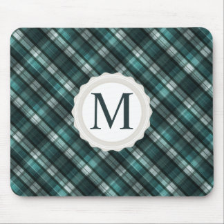 Cool, Masculine Dark Cyan (Blue Green) Plaid Mouse Pad