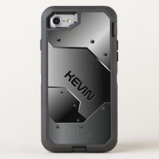 Cool Masculine Metallic Gray Geometric Design OtterBox Defender iPhone 8/7 Case