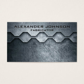 Cool Masculine Metallic Look Mechanical Fabricator Business Card