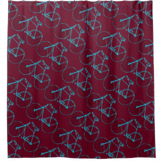 Cool Merlot red Aqua bicycle 🚵 Shower curtain