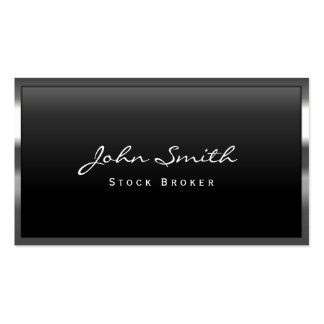 Cool Metal Border Stock Broker Business Card