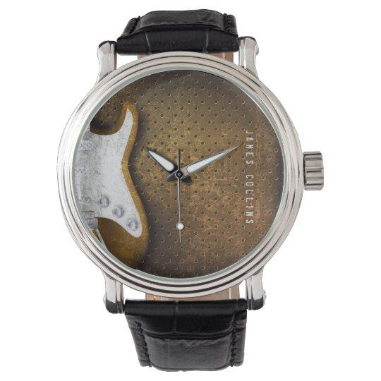 Cool Metal Grunge Electric Guitar Personalised Watch
