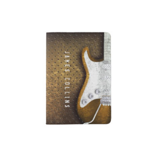 Cool Metal Grunge Electric Guitar Personalized Passport Holder