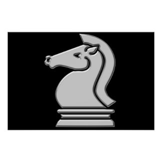 Cool Metallic Chess Knight Horse Piece Poster