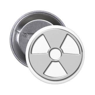 Cool Metallic Radioactive Radiation Symbol 6 Cm Round Badge