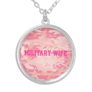 Cool Military Wife Pink Camo Pattern Custom Word Personalized Necklace