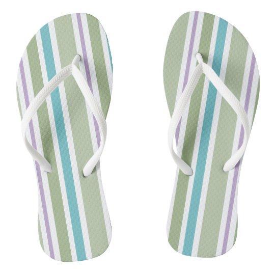 Cool Mint, Blue and Purple Print Pattern Flip Flops