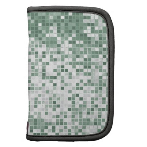 cool mint green squares geometric funky pattern folio planners