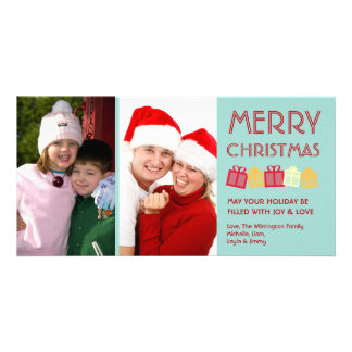 Cool mint merry Christmas fun dancing gift boxes Photo Greeting Card