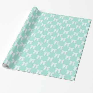 Cool Mint Pastel With White Bows Wrapping Paper