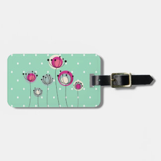 Cool Mint  Polka Dots ,Simplistic Flowers Bag Tag