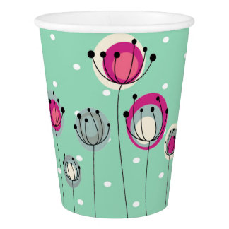 Cool Mint  Polka Dots ,Simplistic Flowers Paper Cup