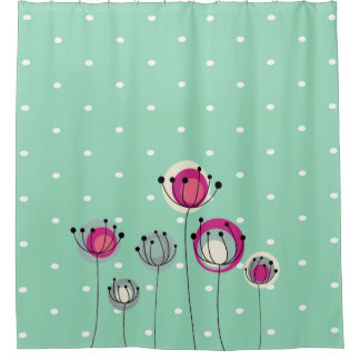 Cool Mint  Polka Dots ,Simplistic Flowers Shower Curtain