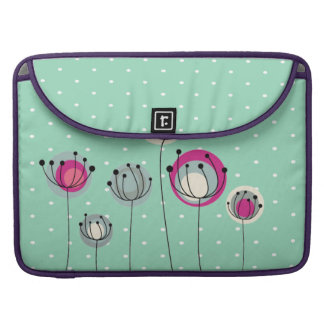 Cool Mint  Polka Dots ,Simplistic Flowers Sleeve For MacBook Pro