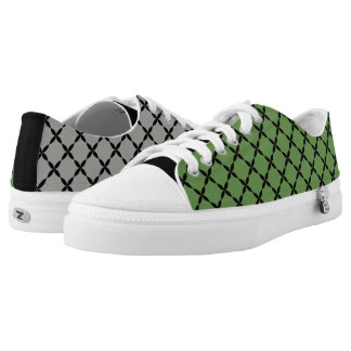 Cool Mismatched Gray & Green Gingham Low Tops