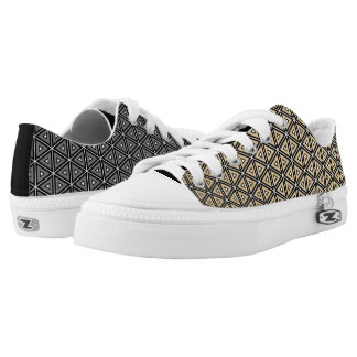 Cool Mismatched Gray & Tan Symmetric Pattern Printed Shoes