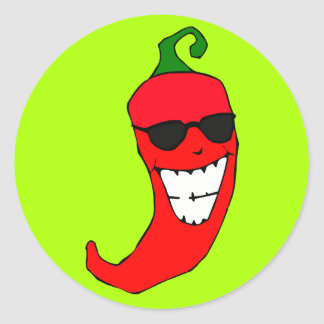 Cool Mister Red Hot Pepper Round Sticker