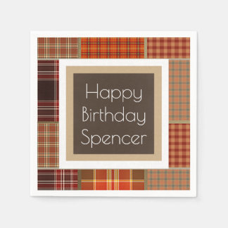 Cool Mixed Plaids Birthday Disposable Napkins