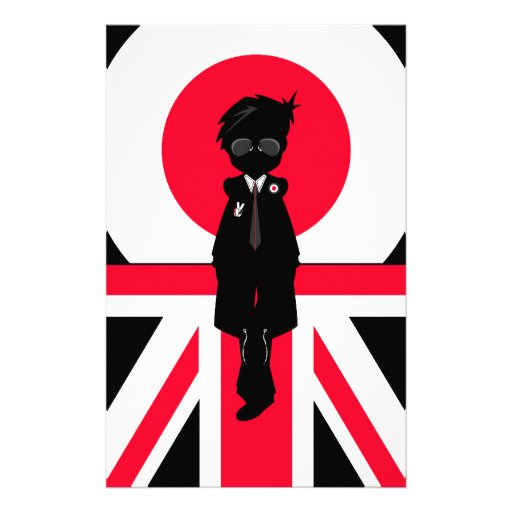 Cool Mod Boy in Silhouette Stationery Paper