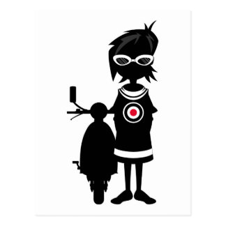 Cool Mod Girl and Scooter in Silhouette Postcard