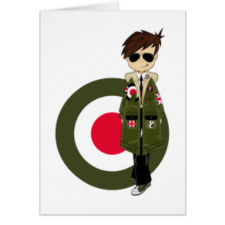 Cool Mod in Parka and Sunglasses Greeting Card