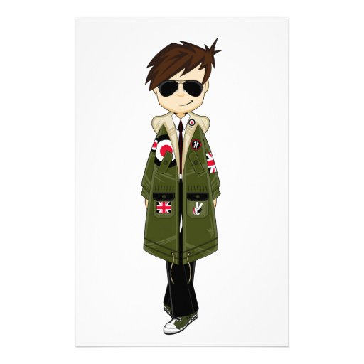 Cool Mod in Parka and Sunglasses Stationery Paper