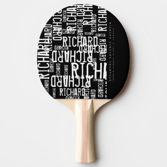 cool / modern b/w table-tennis-paddle with name ping