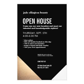 Cool Modern Black and Gold Hair Salon Open House 14 Cm X 21.5 Cm Flyer