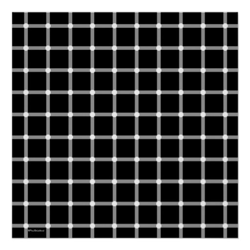 Cool Modern Black and White Optical Illusion Art Poster