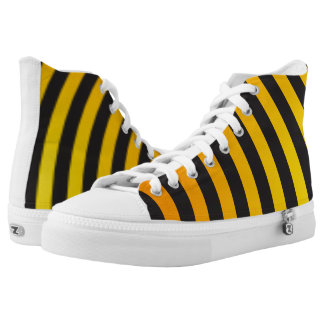Cool Modern Black and Yellow Orange Striped High Tops